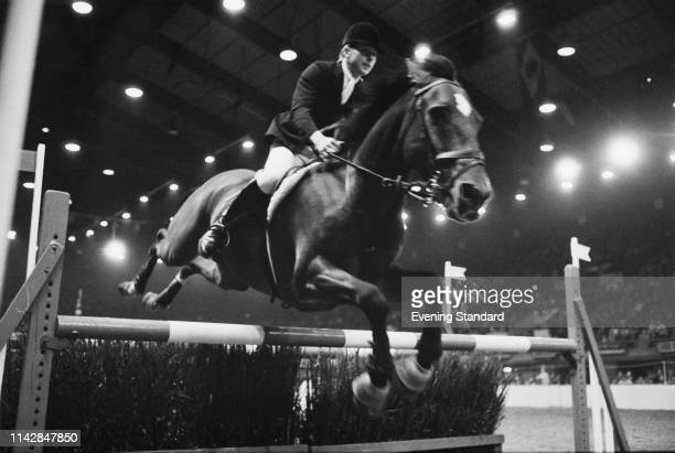 English showjumper Marion Coakes in action during an event UK 9th October 1975