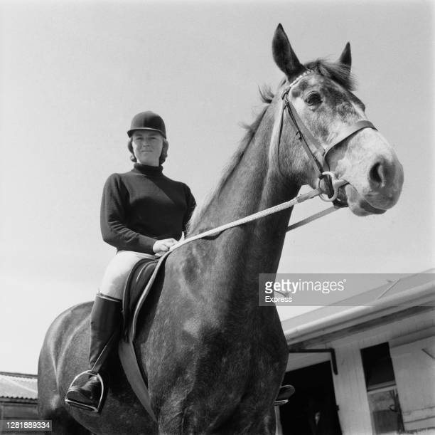 English showjumper Marion Coakes on her new mare, 3rd May 1966.