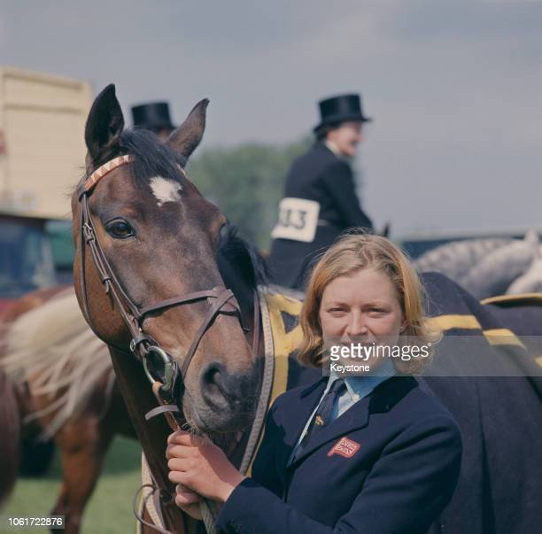 English showjumper Marion Coakes with her horse Stroller at the Royal Windsor Horse Show Berkshire UK 1966