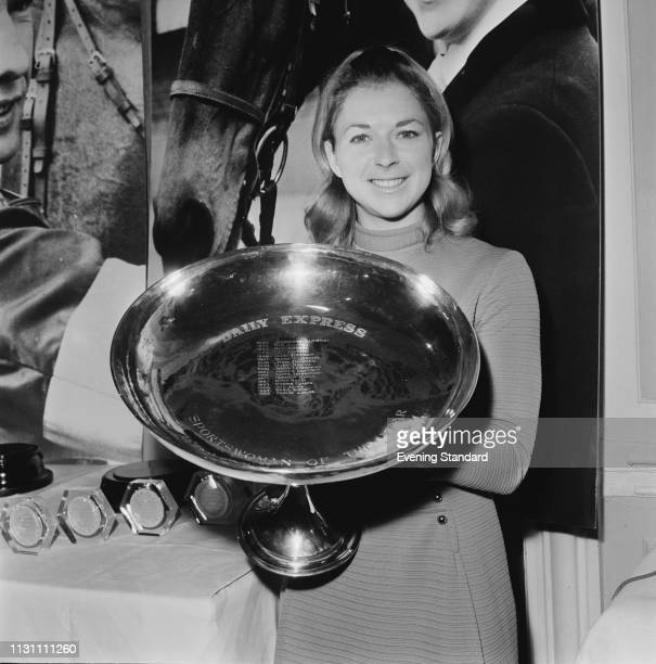 English showjumper Marion Coakes with her trophy for the 'Daily Express Sportswoman of the Year' UK 3rd December 1968