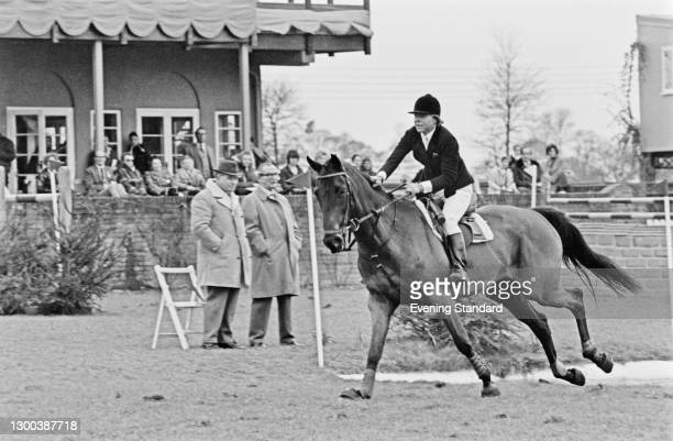English show-jumper Marion Mould, née Coakes, at an equestrian event, UK, 15th June 1972.