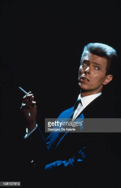 English singer and actor David Bowie films a scene for the film 'Absolute Beginners' directed by Julien Temple UK May 1985