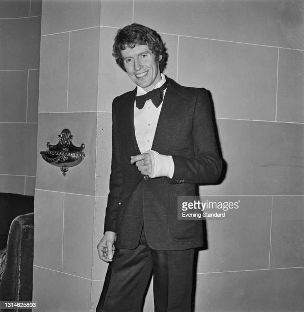 English singer and actor Michael Crawford during the first night of the musical 'Billy' at the Drury Lane Theatre in London, UK, 3rd May 1974. He is...