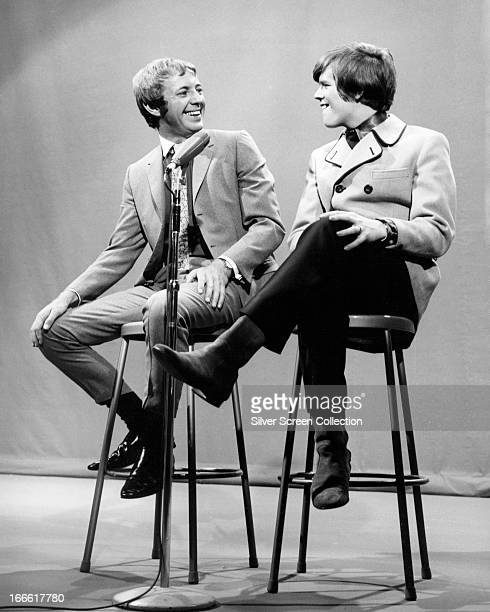 English singer and actor Noel Harrison with English singer Peter Noone of Herman's Hermits circa 1967