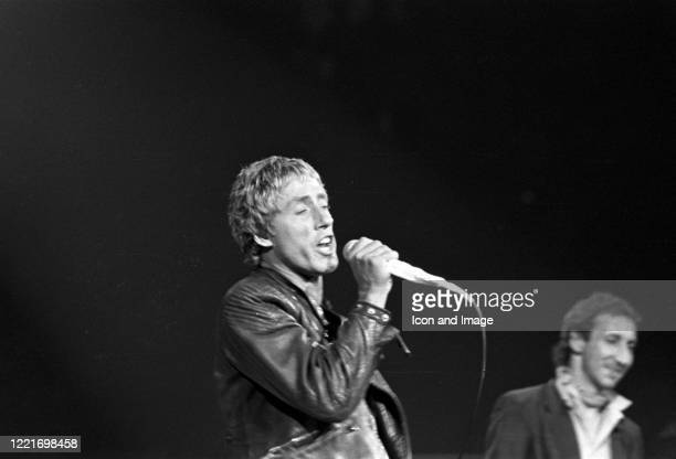 English singer and actor Roger Daltrey and English multi-instrumentalist, singer and primary songwriter for The Who, Pete Townshend, during the...