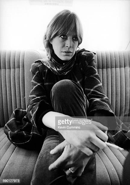 English singer and actress Marianne Faithfull in the back seat of a car Manchester November 1981