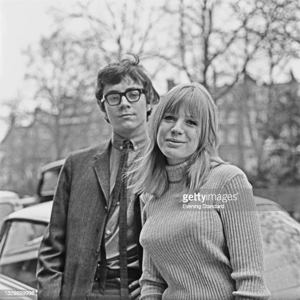 English singer and actress Marianne Faithfull with her fiancé, British artist John Dunbar, UK, 27th March 1965. They were married on 6th May.