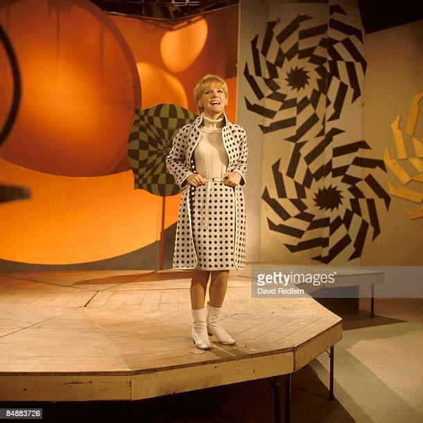 English singer and actress Petula Clark performs on a television show in London circa 1966.