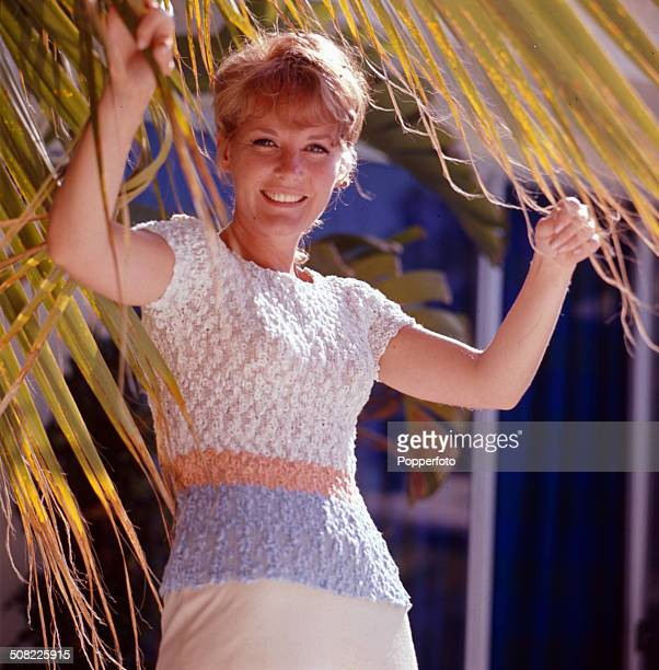English singer and actress Petula Clark posed wearing a white peach and blue top whilst standing under the fronds of a palm tree in 1967