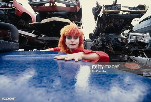 English singer and actress Toyah Willcox at a scrapyard in Battersea London July 1980