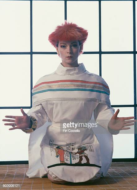 English singer and actress Toyah Willcox wearing a white outfit with an ancient egyptian motif 1980