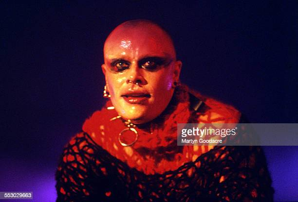 English singer and dancer Keith Flint performing on stage with electronic music group the Prodigy United Kingdom 1997