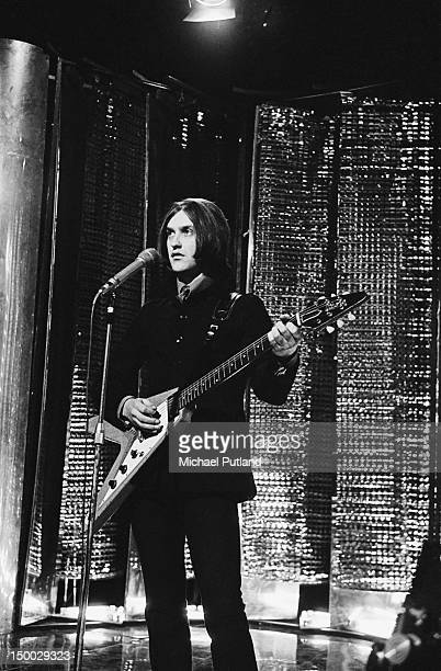 English singer and guitarist Dave Davies of The Kinks performing solo on the BBC TV show 'Top Of The Pops' London 7th December 1967