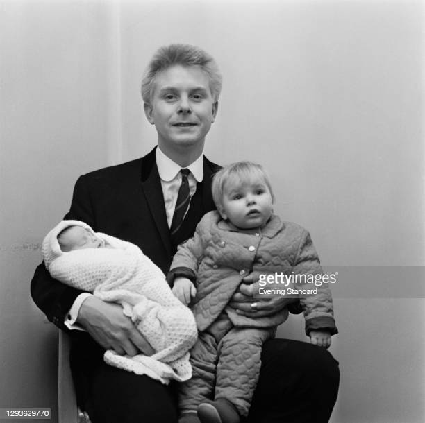 English singer and guitarist Joe Brown with his children Sam and Pete, UK, January 1966. Sam went on to become a singer.