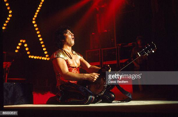 English singer and guitarist Marc Bolan of British glam rock group T. Rex performs live on stage during one date of the band's tour of the United...