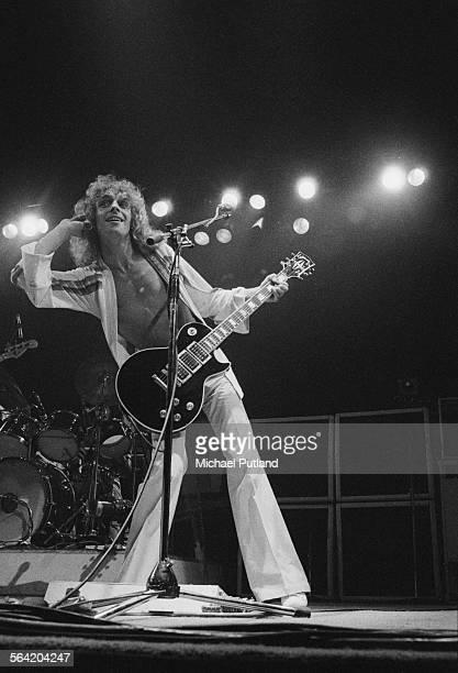 English singer and guitarist Peter Frampton performing on stage April 1976