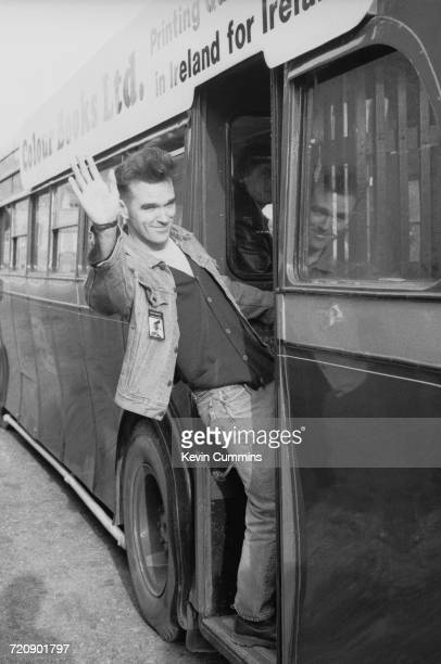 English singer and lyricist Morrissey boarding a bus in Dublin at the start of his 'Kill Uncle Tour' 27th April 1991