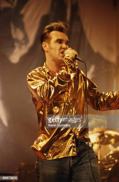 English singer and lyricist Morrissey in concert with The Smiths circa 1987