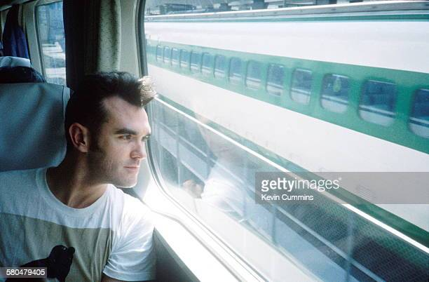 English singer and lyricist Morrissey on a train in Japan during his Kill Uncle Tour August September 1991