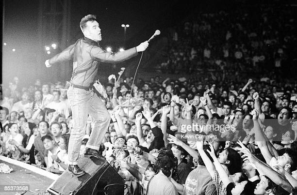 English singer and lyricist Morrissey performing at Jones Beach Long Island New York during his 'Kill Uncle' tour 10th July 1991