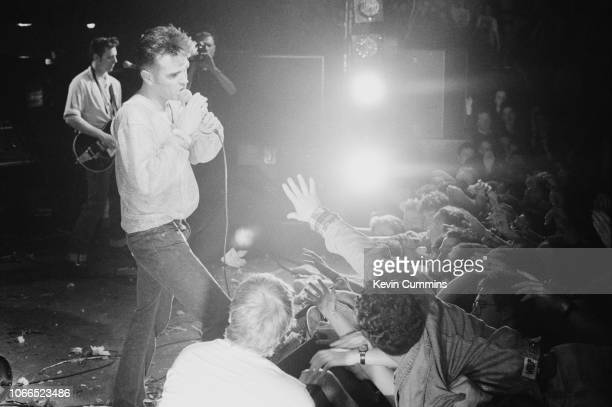 English singer and lyricist Morrissey performing at the National Stadium Dublin Ireland on the first date of his 'Kill Uncle Tour' 27th April 1991