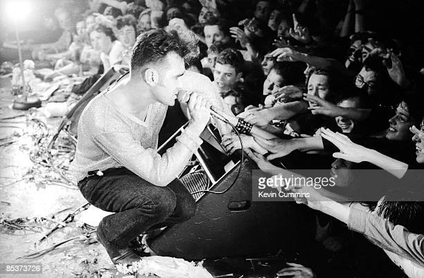 English singer and lyricist Morrissey performing at the National Stadium Dublin Ireland on the first date of his Kill Uncle tour 27th April 1991