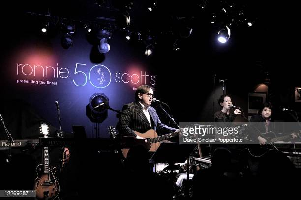 English singer and musician Chris Difford of Squeeze performs live on stage at Ronnie Scott's Jazz Club in Soho London on 6th April 2009