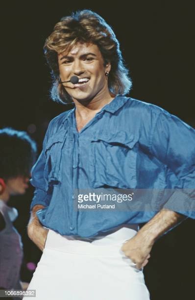 English singer and musician George Michael of Wham! performs live on stage during the Japanese leg of the pop duo's 1985 world tour in January 1985....