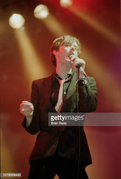 English singer and musician Jarvis Cocker of rock group Pulp performs live on the Pyramid stage at the Glastonbury Festival in Pilton Somerset on...