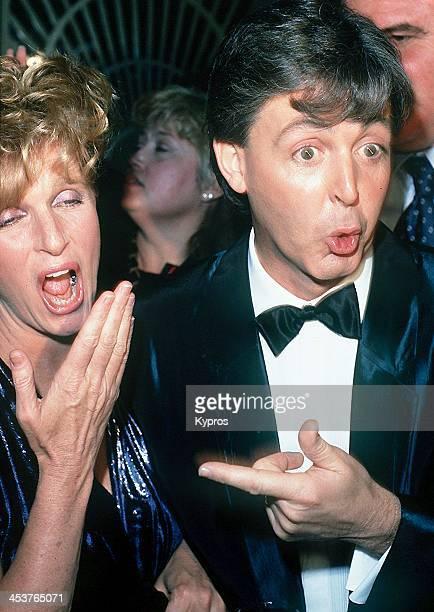 English singer and musician Paul McCartney with his wife Linda McCartney circa 1989