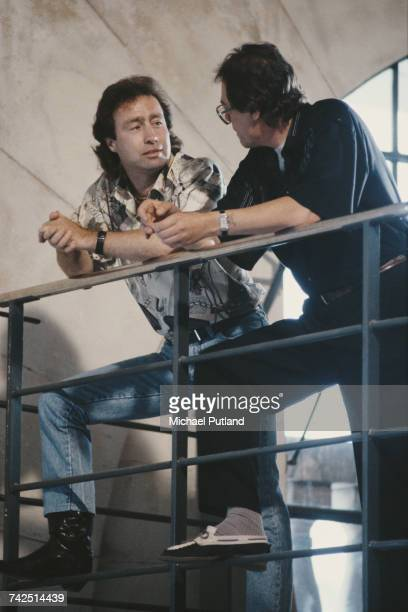 English singer and musician Paul Rodgers former vocalist with Free and Bad Company pictured on left being interviewed by Tommy Vance at Metropolis...
