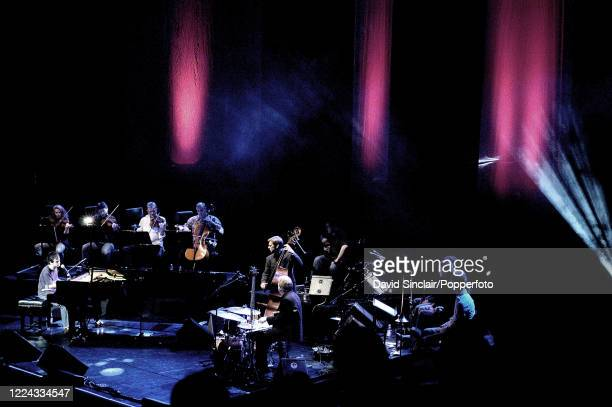 English singer and pianist Jamie Cullum performs live on stage at the Royal Festival Hall in London on 23rd November 2003