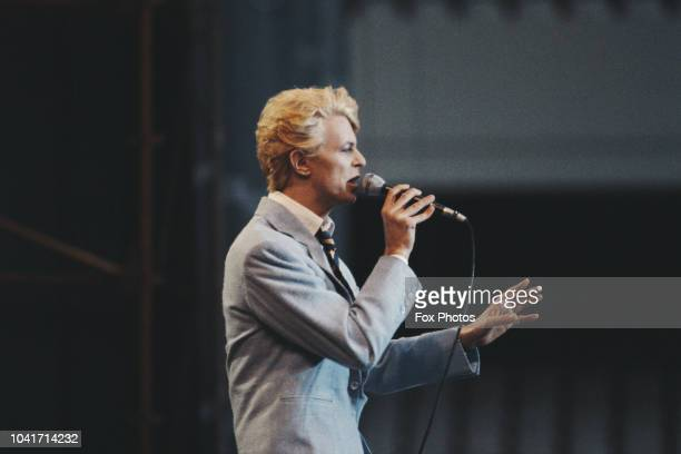 English singer and songwriter David Bowie in concert during his Serious Moonlight tour, 1983.