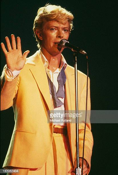 English singer and songwriter David Bowie performing on stage during the Serious Moonlight World Tour 1983