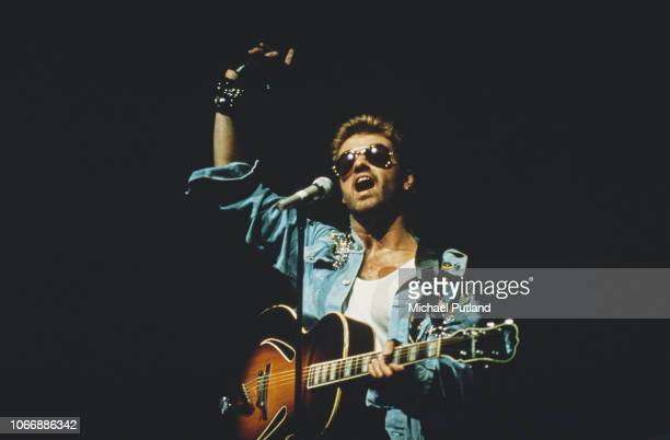 English singer and songwriter George Michael performing on stage during the Japanese/Australasian leg of his Faith World Tour, February-March 1988.