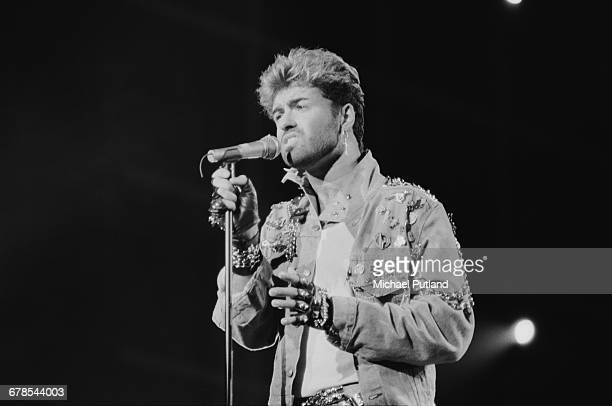 English singer and songwriter George Michael performing on stage during the Japanese/Australasian leg of his Faith World Tour FebruaryMarch 1988