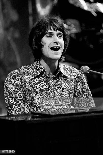 English singer and songwriter Ray Davies of the Kinks recording a piece for the BBC London 1968