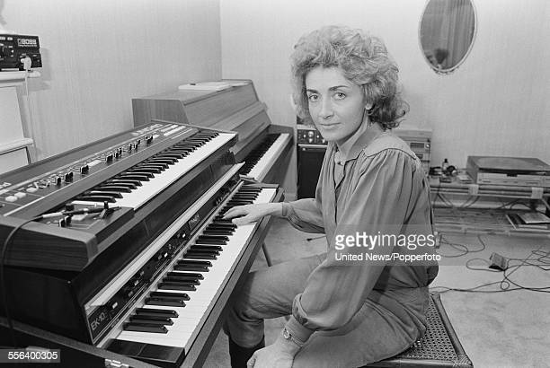 English singer and songwriter Sally Oldfield pictured playing a Rhodes EK10 suitcase piano at a rehearsal studio in London on 17th October 1983