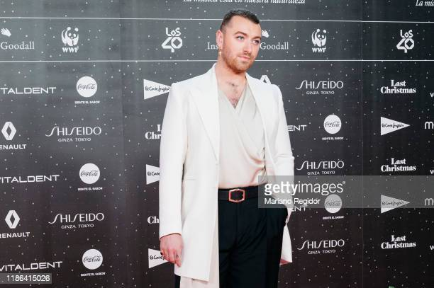 English singer and songwriter Sam Smith attends 'Los40 music awards 2019' photocall at Wizink Center on November 08 2019 in Madrid Spain