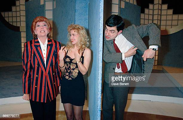 English singer and television presenter Cilla Black and Rowan Atkinson during the 'Blind Date' television show for the Comic Relief charity telethon...