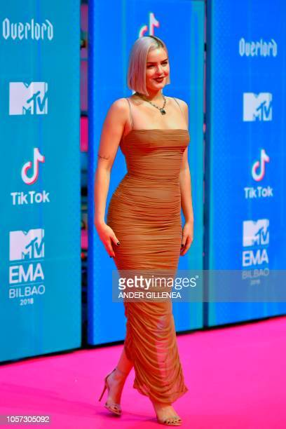 English singer AnneMarie poses on the red carpet ahead of the MTV Europe Music Awards at the Bizkaia Arena in the northern Spanish city of Bilbao on...