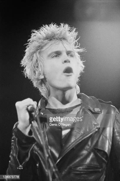 English singer Billy Idol performing with punk group Generation X at the Rainbow Theatre, London, 1977.