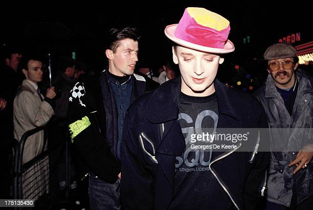 English singer Boy George attends the premiere of 'Scandal' at the Odeon Cinema on March 3 1989 in London England