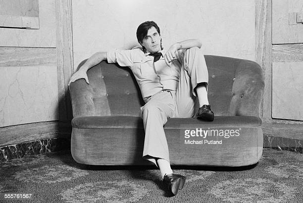English singer Bryan Ferry of Roxy Music in military style costume at the Montcalm Hotel London 31st October 1975
