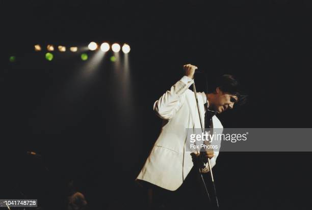 English singer Bryan Ferry performs with his band Roxy Music at Wembley Arena London 23rd September 1982
