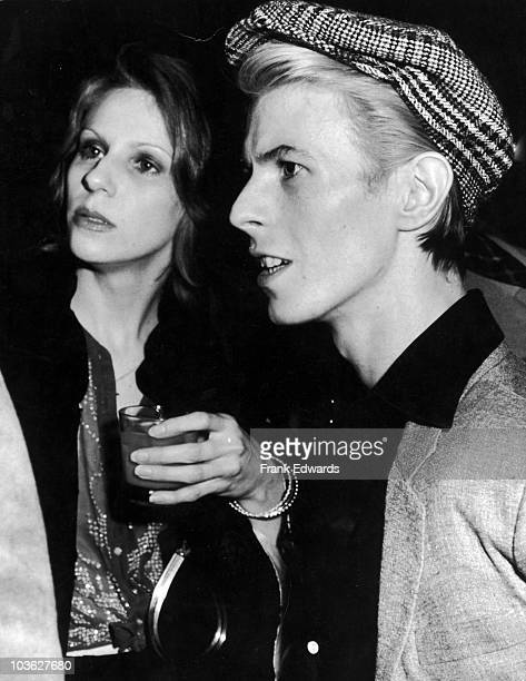 English singer David Bowie and his wife Angela at the American Film Institute reception for film director Michelangelo Antonioni at Greystone Mansion...