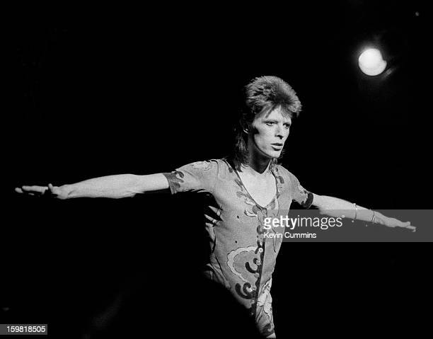 English singer David Bowie performs at the Rollarena in Leeds during the Ziggy Stardust / Aladdin Sane tour 29th June 1973