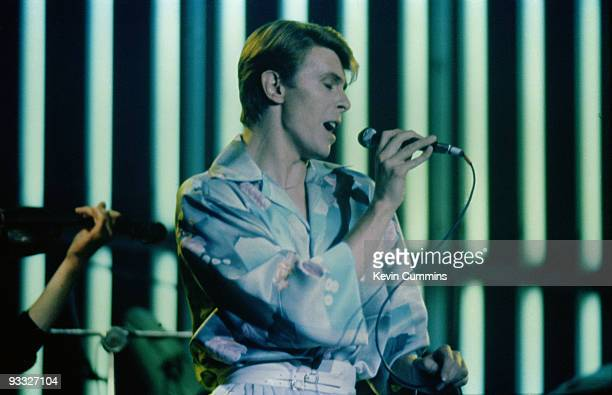 English singer David Bowie performs on stage as part of the Low and Heroes World tour in 1978