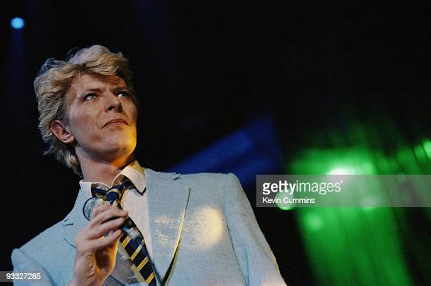 English singer David Bowie performs on stage during the Serious Moonlight tour in 1983
