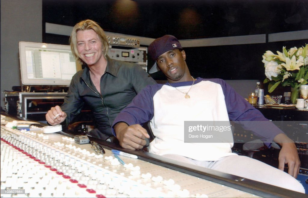 English singer David Bowie with American rapper Diddy (Sean Combs) in a recording studio, circa 2001.